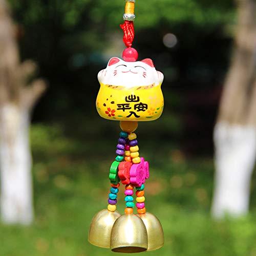 Maneki Neko - Colgante de Campana Feng Shui con Porcelana Japonesa para Gatos, Amuleto de la Suerte Tradicional (Amarillo)