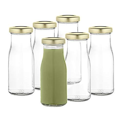 MamboCat 6er Set Saftflaschen 156ml + Twist-Off Deckel TO43 gold I Leere Flaschen zum Befüllen I Weithalsflasche zum Einkochen I Einmachflaschen Milchflaschen I Runde Glasflaschen luftdicht