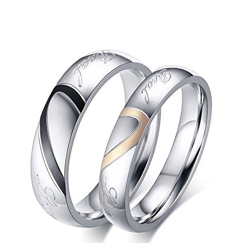 Beydodo Anelli Coppia Lui e Lei Anello del Cuore di Puzzle Anello Acciaio Fidanzamento Donna Misura 15 & Uomo Misura 25