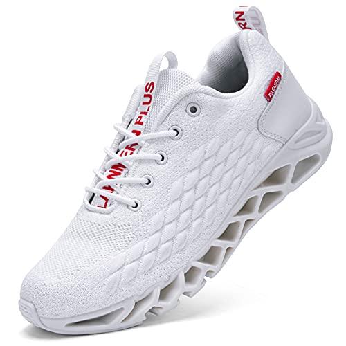 LARNMERN Scarpe da Ginnastica Uomo Donna Corsa Respirabile Mesh Sportive Fitness Running Sneakers Basse Interior Casual all'Aperto(Bianco 41)