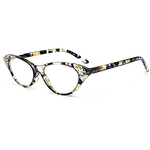 Zhuhaixmy Vintage Damenmode Designer Cat Eye Vergrößerung Lesung Leser Brillen mit Strass