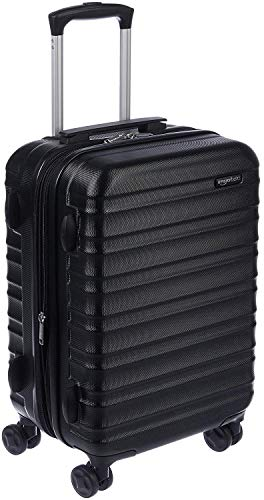 AmazonBasics Hardside Carry-On Spinner Suitcase Luggage - Expandable with Wheels - 21 Inch, Black