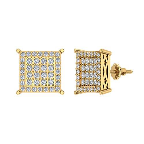 Pendientes de diamante cuadrado de 0,40 ctw de oro amarillo de 10 quilates