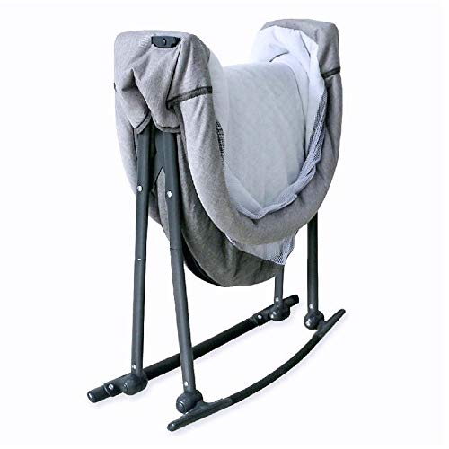 Baby Reisebett Beistellbett Babybett klappbar grau beige Mädchen Jungen Bassinet Traveler mit Moskitonetz, Matratze und Tasche - 3