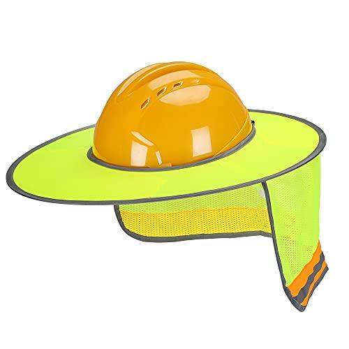 UNCO- Hard Hat Sun Shield, Full & Standard Brim Mesh Sunshade High Visibility Reflective, Hard Hat Sun Shade, Hard Hat Accessories, Hard Hat Visor, Hard Hat Shade, Hard Hat Neck Shade. Yellow