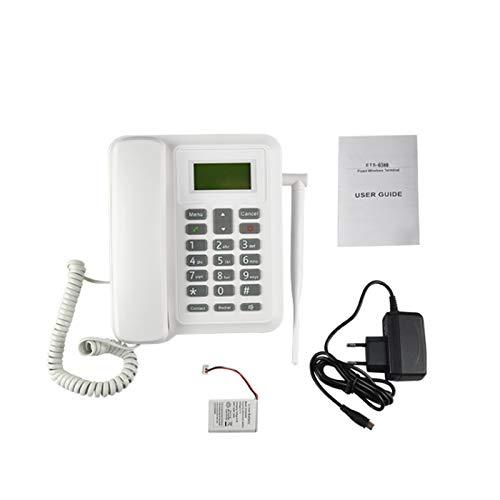 JXCAA gsm Business Desk Phone - Teléfono De Escritorio con Ranura para Tarjeta SIM, Batería Recargable, Identificador De Llamadas, Remarcación, Funciones Manos Libres - Blanco
