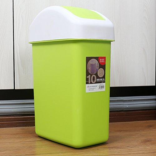 Bacs à ordures extérieurs Xiuxiutian Le couvercle en plastique du style rock chambre salon bureau poubelles 10L, vert clair