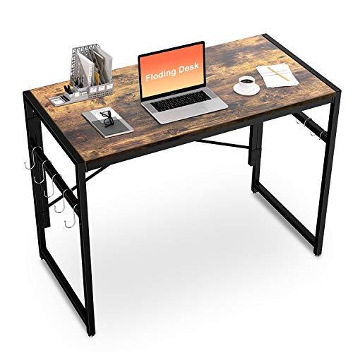 Vacwel Plegable Escritorio Moderno Minimalista Mesa de Ordenador, 100x50x75cm Escritorio Estilo Industrial Plegable Escribanía Adecuado paraen el hogar Oficina ⭐