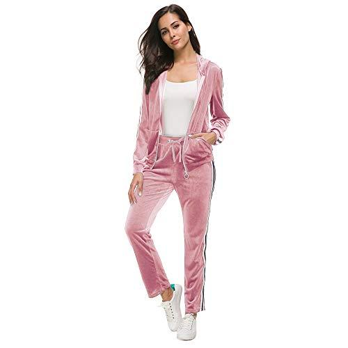 Unifizz Women's 2 Piece Outfits Velvet Zip Hoodie Sweatshirt & Sweatpants Sweatsuits and Velour Tracksuit Sets Jogging Suit Pink L