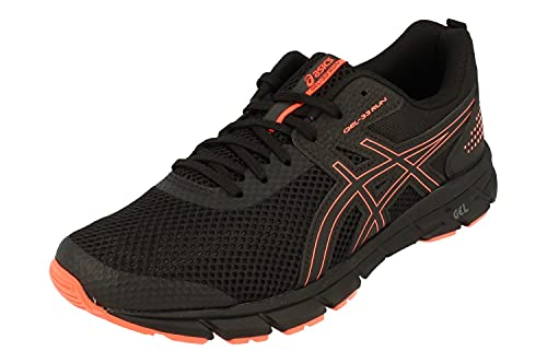 Asics Gel-33 Run Hombre Running Trainers 1011A638 Sneakers Zapatos (UK 8.5 US 9.5 EU 43.5, Black Flash Coral 002)