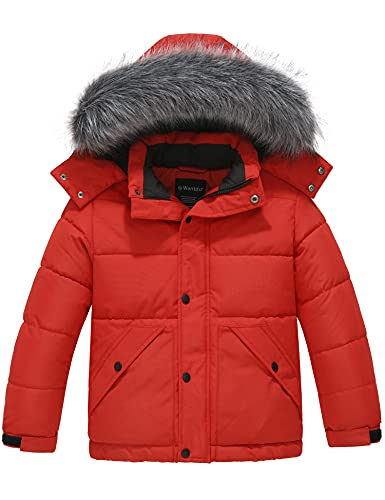 Wantdo Boy's Quilted Winter Coat Windproof Puffer Down Jacket Hooded Water Resistant Parka Red 6/7