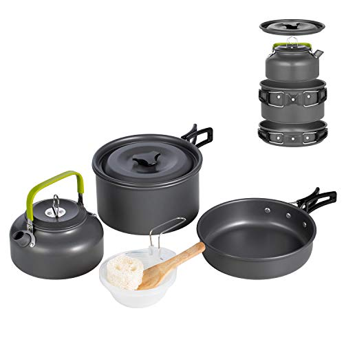 Terra Hiker クッカーセット キャンプ用品 アウトドア鍋 ポータブル 料理用(10点セット)