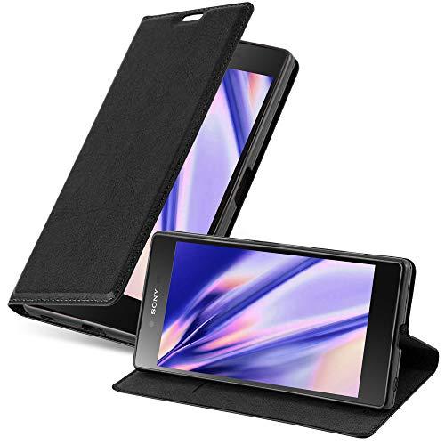 Cadorabo Hülle für Sony Xperia Z5 in Nacht SCHWARZ - Handyhülle mit Magnetverschluss, Standfunktion & Kartenfach - Hülle Cover Schutzhülle Etui Tasche Book Klapp Style
