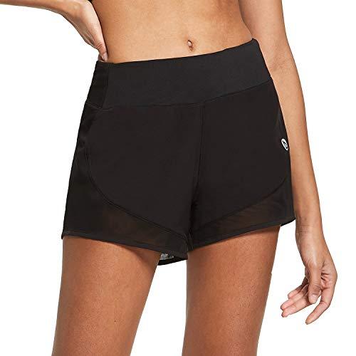 BALEAF Women's 3' Active Athletic Running Shorts Mesh Activewear Elastic Waistband 2-in-1 Workout Shorts Black Size Medium