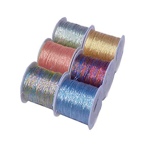 6 Rollos Cordón de Fabricación Artesanal,Cordel Metálico,Cuerda de Cuentas de Bricolaje,para Manualidades,Bricolaje,Joyas,Embalaje de Regalo,6 Colores Mezclados(0.6mm*34m)