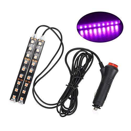 2 Piezas del coche LED Dash suelo for los pies luz de tira de mechero Ambiente adaptador de la lámpara decorativa interior Lámparas (Emitting Color : Pink)