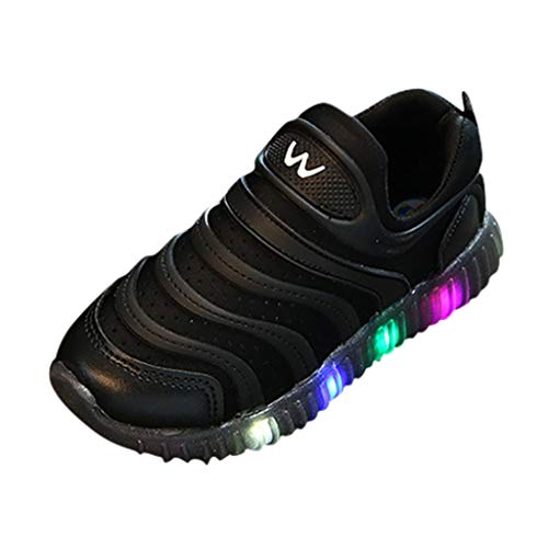 Kid's Baby LED Light up Shoes Breathable Easy Walking Slip-on Luminous Sneakers for Boys & Girls as Gift Black