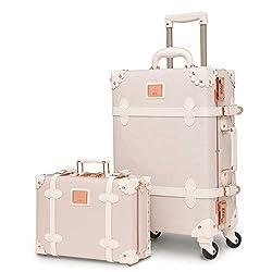 commercial Ladies Luxury Vintage urecity Women Suitcase 2 Piece Cute Pink Retro Suitcase 20inch vintage hardside luggage
