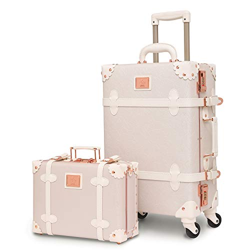 urecity Womens Luxury Vintage Trunk Luggage Set 2 Piece Cute Retro Pink Hardside Suitcase 22'