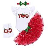 FYMNSI Conjunto de 4 piezas para bebé con estampado de frutas para el primer cumpleaños o el segundo cumpleaños, de manga corta, tutú, falda, diadema y calentadores de piernas, Strawberry Two, 2 Jahre