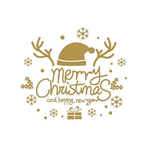 TIREOW Fröhliche Weihnachten Hintergrund Entfernbarer Wandaufkleber, Ungiftig Wasserdicht Tür Fenster Aufkleber Schlafzimmer Wohnzimmer PVC Fensteraufkleber Wandtattoo (A)