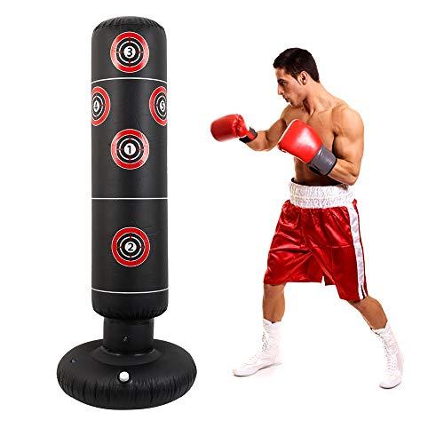 Boxsack Kinder Standboxsack 160cm Aufblasbare Boxsäule Fitness Krafttraining Dekompression Standboxsack für zum Üben von Karate Taekwondo Kick Kampftraining