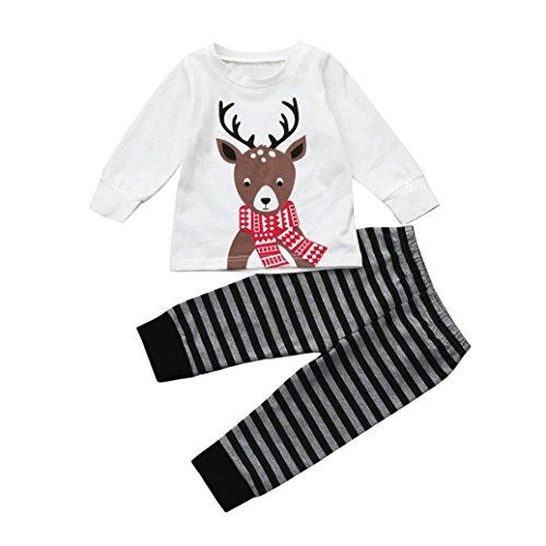 Hirolan Baby Strampler Set Babykleidung Neugeborene Weihnachten Mädchen Print Tops + Gestreifte Hose Jungen Tops Hirsch Outfits Lange Ärmel Kleider Festival Set (90, Weiß)