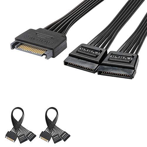 J&D 2er Pack 15 Pin SATA Power Y Splitter Kabel, Männlich auf Weiblich - 20cm