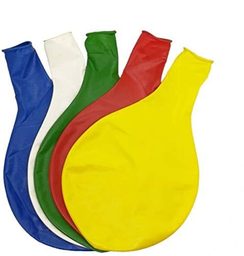 CHSYOO 5 x diámetro 90cm, Gigante Globo látex Redondo Globo decoración para Boda cumpleaños Bautismo Baby Shower niños Fiesta, Blanco Amarillo Rojo Azul Verde