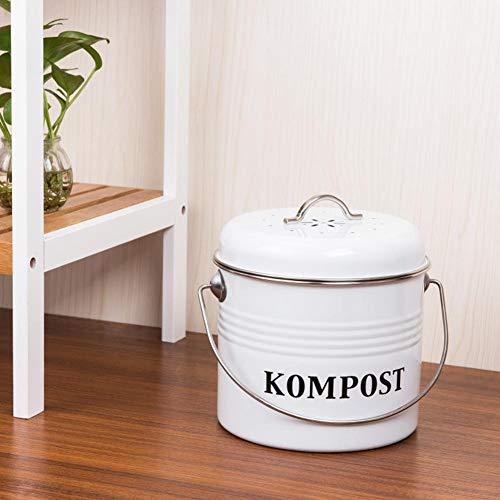 hook.s Contenedor de compostaje de 5L, Cubo de Cocina Retro con Tapa Bote de Basura Interior Cubo de Filtro de carbón de leña Cubo de Basura Guardian Container Bucket