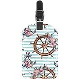 Etiquetas náuticas para Equipaje con Ancla y Rueda con diseño Floral de Piel para Maleta de Viaje, 1 Paquete