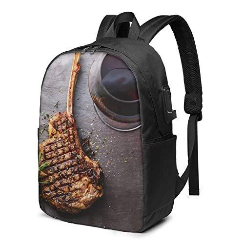 Laptop Rucksack Business Rucksack für 17 Zoll Laptop, Über dem Grill gegrilltes Rindfleisch Schulrucksack Mit USB Port für Arbeit Wandern Reisen Camping, für Herren Damen