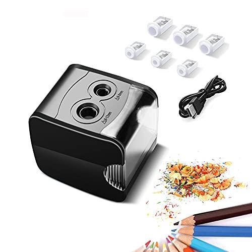 Temperamatite elettrico, DeerRanTec temperino elettrico per bambini con due fori automatico e con contenitore, a batteria USB professionale per bambini Artisti nelle scuole Aule Ufficio a casa (Nero)