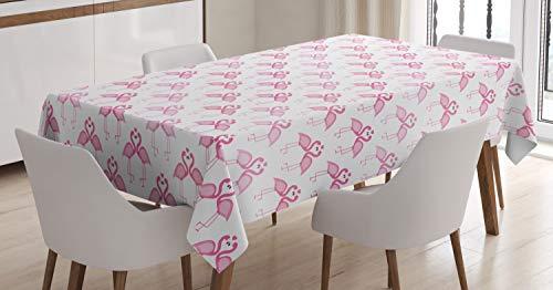 ABAKUHAUS Hawai Mantele, Cutsy Amor Arte Flamingos, Resistente al Agua Lavable Colores No Destiñen Personalizado, 140 x 200 cm, Rosa y Rosa en Colores Pastel