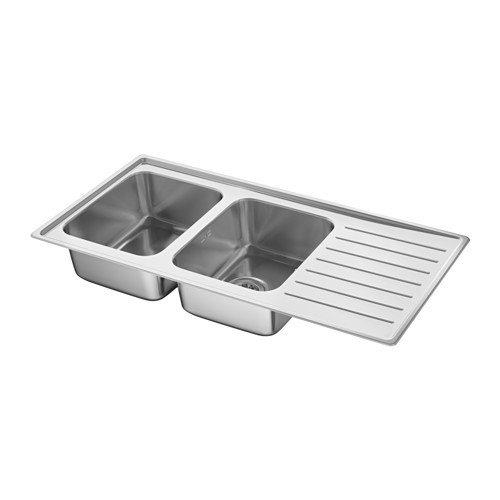 IKEA VATTUDALEN Einbauspüle 2 Becken; aus Edelstahl; inkl. LILLVIKEN Siphon; (110x53cm)
