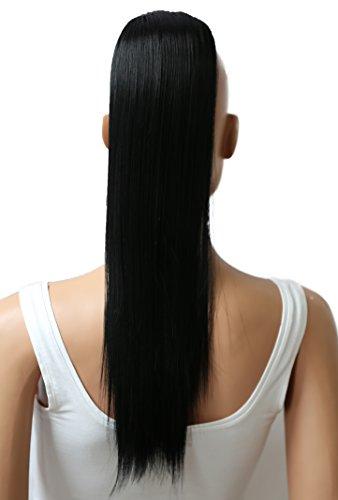 PRETTYSHOP 50cm Haarteil Zopf Pferdeschwanz Haarverlängerung Glatt Schwarz H56