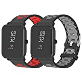 SenMore Correa para Amazfit Bip Younth - 20mm Silicona Pulsera Impermeable Correas de Repuesto para Galaxy Watch 42mm, Gear S2 Classic, Huami Amazfit Bip (20MM, 2PCS Sport M)