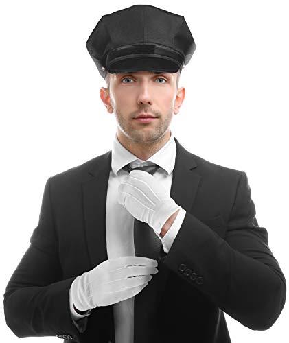 Balinco Set mit Chauffeur Mütze + Krawatte + weiße Handschuhe - die perfekte Ergänzung für Ihr Kostüm als Hochzeitsfahrer oder Fahrer / Chauffeur
