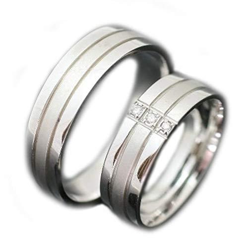 [ココカル]cococaru 結婚指輪 ペアリング 2本セット K18 ホワイトゴールド ダイヤモンド 日本製(レディースサイズ2号 メンズサイズ4号)