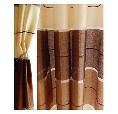 Halbtransparent Ösenvorhang Ösenschal Schal Dekoschal für Fenster Dekorative Gardine Farben Streifen 2er Set Vorhänge mit Ösen 145x245 cm AGV (V21)