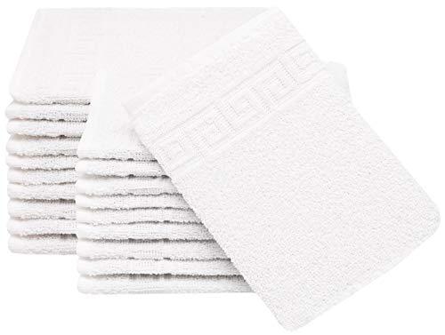 ZOLLNER Set de 20 Gants de Toilette en 100% Coton, ca. 16x22 cm, Blanc