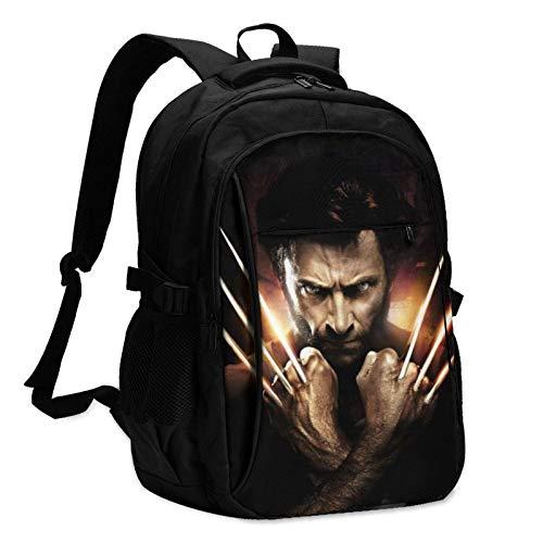 X-Men Wolverine Mochila para portátil Anti Theft Water Resistant Durable Bolsa de computadora USB Charging Port Encaja 15.6 Inch Laptop and Notebook College School Viajes de Negocios