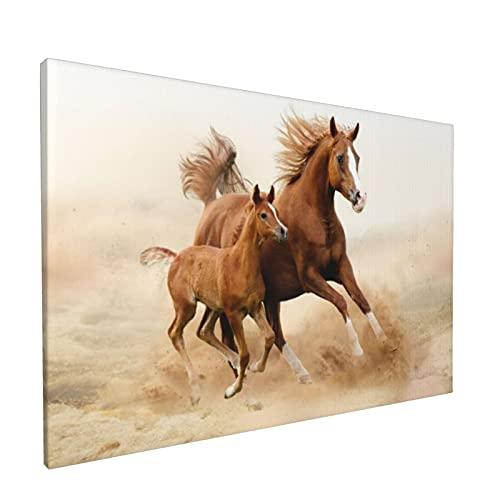 Arte de pared,Animales, caballos, y, niños, correr, en, cam,pinturas al óleo enmarcadas impresas en lienzo Obra de arte moderna para sala de estar dormitorio decoración de pared de oficina