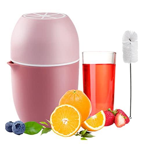 IWILCS Taza exprimidora manual,2 en 1 sin BPA Manual Exprimidor Viene con un Cepillo de Limpieza, Adecuado Para Naranjas, Limones, Sandías, Uvas (Rosa Roja)