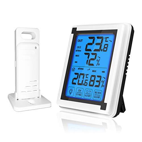 RUIZHI Indoor Outdoor Thermometer, Wetterstation Funk mit Außensensor und Hintergrundbeleuchtung für zu Hause, im Büro, Gewächshaus Temperaturfeuchtigkeitsmonitor (Min- und Max-Aufzeichnungen)