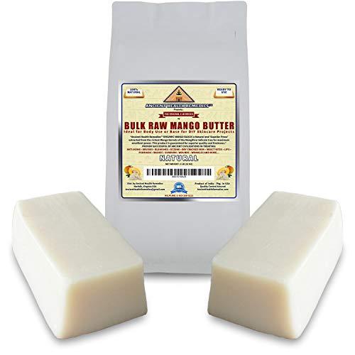 Organic Unrefined Raw MANGO BUTTER 2 LB (32 oz) BLOCKS Bulk, Light Mango Aroma, Non-Greasy Base for Beauty, Skin Moisturizing, DIY Base for Body Butter & Soap Making (INDIA) Ancient Health Remedies