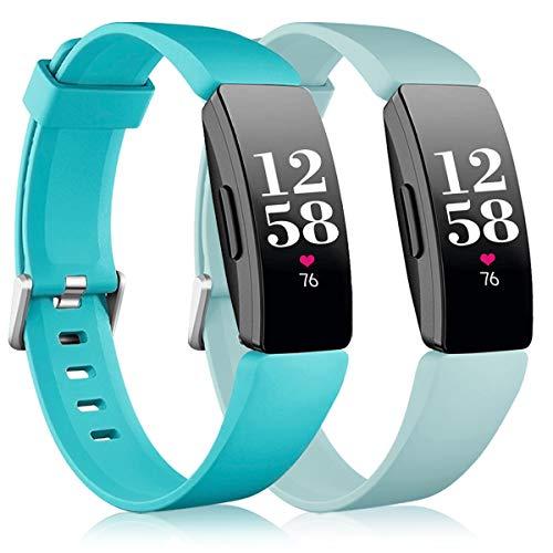Vobafe 2 Pack Compatible avec Fitbit Inspire Bracelet/Inspire HR Bracelet, Sport en Silicone Souple Bracelet Compatible avec Fitbit Inspire/Inspire HR/Inspire 2/Ace 2, Grand Sarcelle/Bleu Menthe