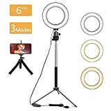 LED Ring Light - 6' Selfie Lamp 3 Light Modes & 10 Adjustable Brightness with Tripod Stand & Cell Phone Holder for YouTube, Facebook, Live Stream, Makeup and More (6 Inch)