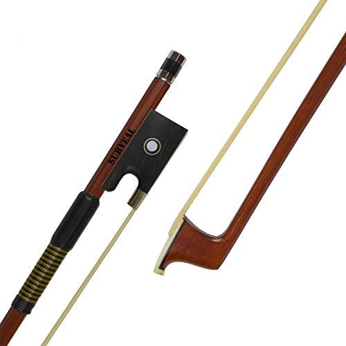 SURVEAL Prossionaler Brasilholz-Violinenbogen mit bestem Mongolei-Pferdeschwanz und bestem Gummizug für Begginner (4/4)