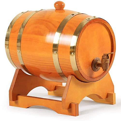 SETSCZY Barril de Roble, Barril de Madera de Roble para Almacenamiento y Envejecimiento de Vino y Bebidas, con Soporte, Barril de Vino de Madera de Roble Vintage,5L